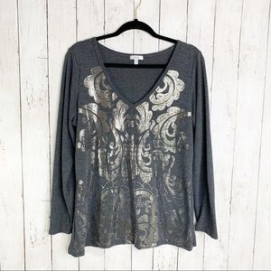 {Cache} Silver Metallic Long Sleeve Shirt XL